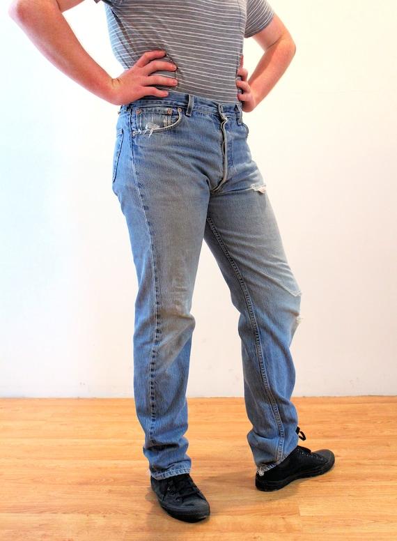 90s Levi's 501 Blue Jeans 36 x 36, Vintage Trashe… - image 2