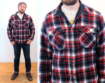 """90s Insulated Plaid Shirt Jac XL, Men's Vintage Rugged """"Fieldmaster"""" Red Flannel Heavy Duty Workwear, Extra Large"""