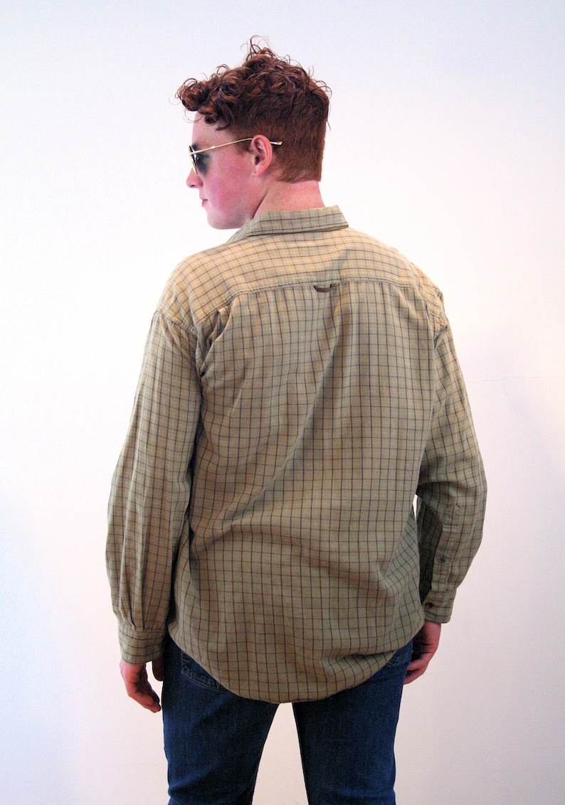 Soft Heavy Cotton India Windowpane Checkered Tan Men/'s 90s Orvis Flannel Shirt L Large