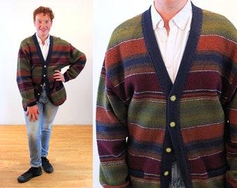 80s Striped Wool Cardigan M L, Oversized Men's Vintage Olive Orange Colorblock Sweater, Medium Large