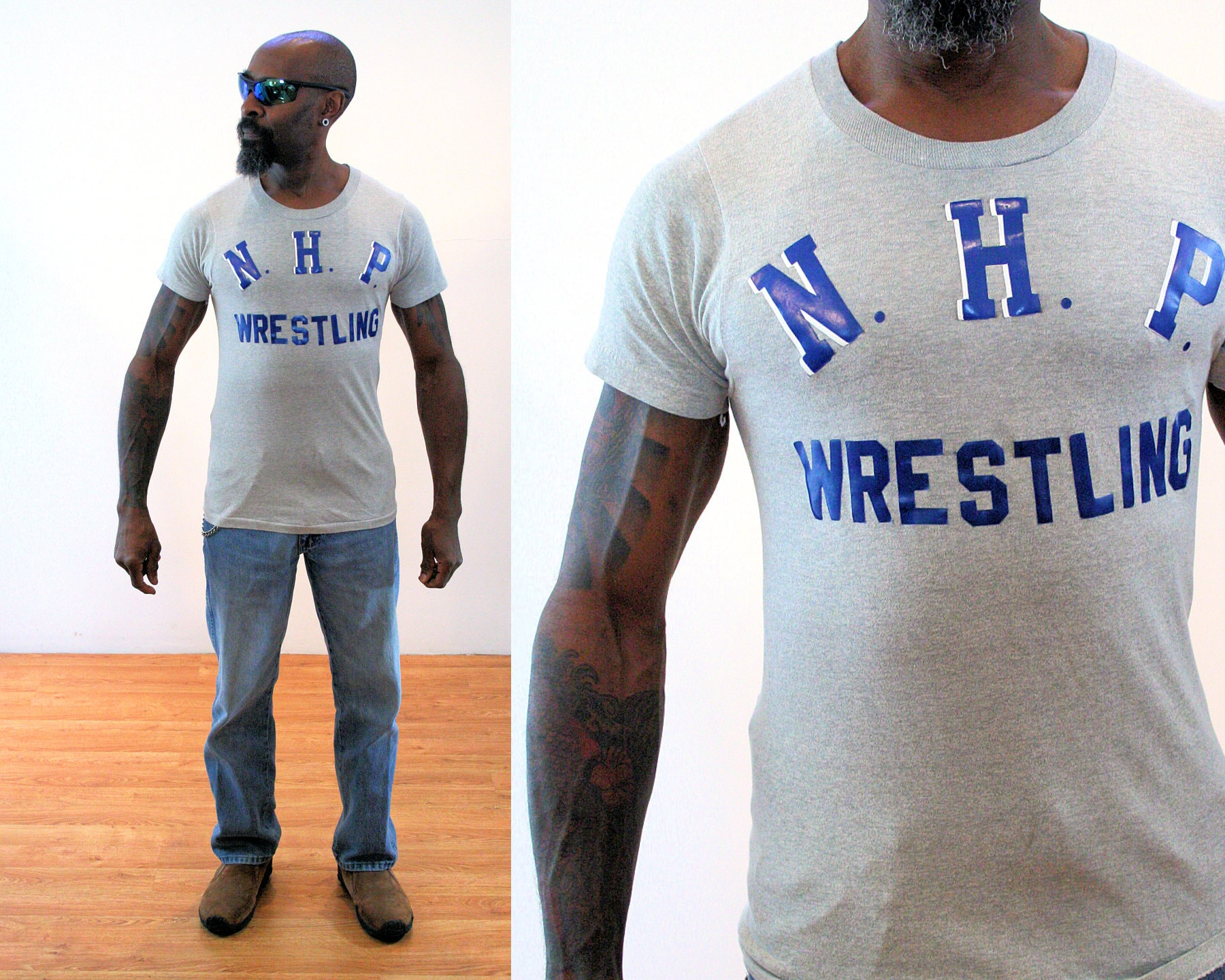 1970s Men's Shirt Styles – Vintage 70s Shirts for Guys 70S Screen Stars Wrestling T-Shirt S Xs, Vintage Nhp Old School Mens Gray Athletic Tee, Extra Small $41.00 AT vintagedancer.com