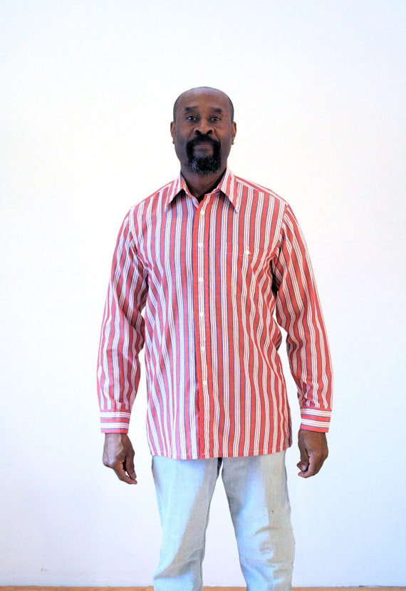 60s Hathaway Striped Shirt M, Men's Preppy Red White Vintage Long Sleeve Retro Button Down, Medium