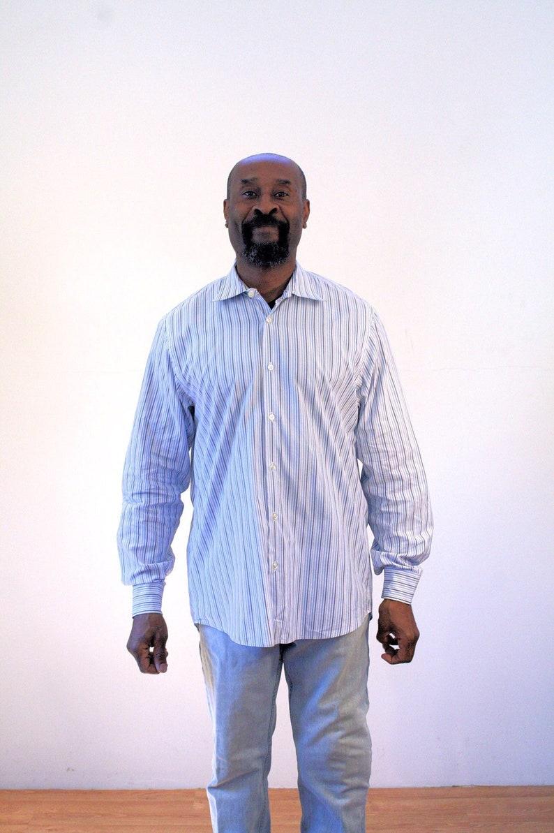 cb12eaa1e 90s Pinstripe Shirt M Hugo Boss Blue Cotton Men's Classic | Etsy