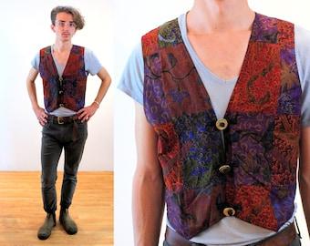 90s Patchwork Vest S, Asia Craft Batik Cotton Indonesia Vintage Hippie Waistcoat, Small
