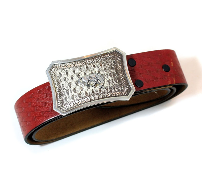90s Dante Pony Belt Size 34 Bronco Nickel Buckle Red Tooled Leather Men/'s Western Wear