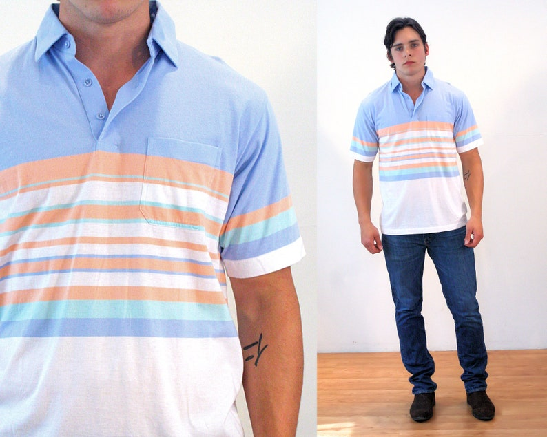 3ed6ca95daa0a8 90s Polo Shirt M Retro Cotton Striped Men's Golf Blue | Etsy