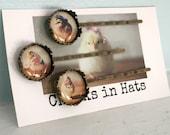 Bobby Pin Set (3) Chicks in Hats Hair Accessories Three Chickens Chicken Hairpins Pins
