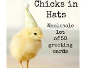 Wholesale Lot 50 Chicks in Hats Greeting Cards Baby Animal Notecards