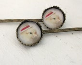Bobby Pin Set Chicken Wearing a Miniature Red Straw Hat Hair Pins Chicks in Hats (2)