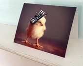 Greeting Card Chicks in Hats Photo Card Chicken Wearing A Derby Hat Baby Animals #63