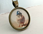 Baby Animal Pendant Necklace of A Chicken Wearing A British Bobby Policeman Hat Chicks in Hats