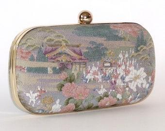 5f620a0a7e4 Box Clutch Minaudière Clamshell Purse, Vintage Kimono Silk Rural Scene,  Green Floral Evening Bag, Bridal Clutch, Lined with Dupioni Silk
