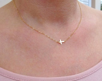 Gold Sideways Cross Necklace, Gold Cross Necklace, Tiny Cross Necklace, Jewelry Gift, Birthstone Cross, Small Cross Necklace, Gift For Her