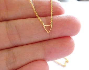 Gold Triangle Necklace, Dainty Gold Necklace, Small Gold Necklace, Tiny Gold Necklace, Gold Jewelry, Dainty Necklace, Delicate Gold Necklace