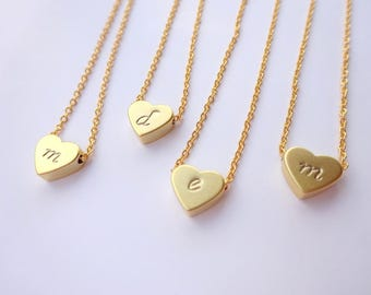 Personalized Initial Necklace Bridesmaids Gift, Personalized Gift, Jewelry Gift, Initial Heart Necklace, Bridesmaids Necklace Gift For Her