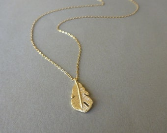 Delicate Gold Necklace, Dainty Gold Necklace, Gold Feather Necklace, Satellite Chain Simple Gold Necklace, Long Gold Necklace Gift For Her