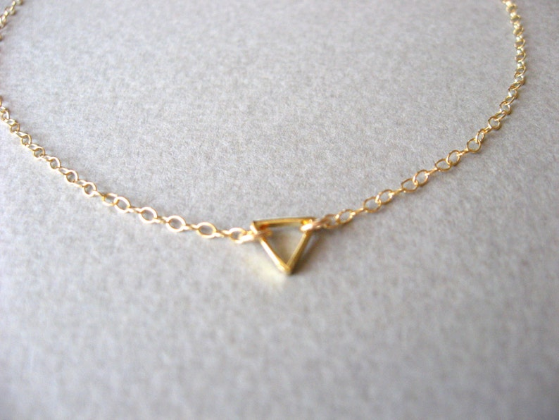 Gold Anklet Gold Ankle Bracelet Tiny Triangle Anklet Gold Plain chain as photo