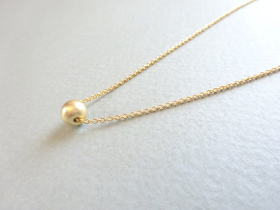 Gold Necklace Gold Ball Necklace Simple Gold Necklace Etsy