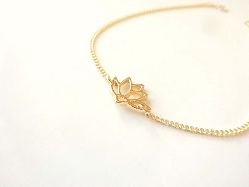 Yoga Spiritual Jewelry Gold Anklet Yoga Anklet Gold Lotus Anklet Gift For Her Dainty Gold Anklet Flower Anklet Jewelry Gifts