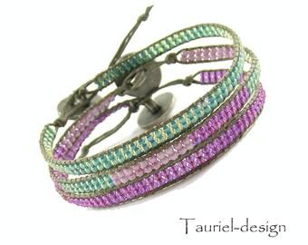Rose and aquamarine, thin gypsy beaded bracelets, bohemian bracelet, hippie bracelet, ethnic bracelet - Set of three