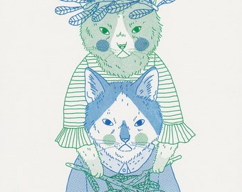 Cat Magic Two Colour Risograph Print