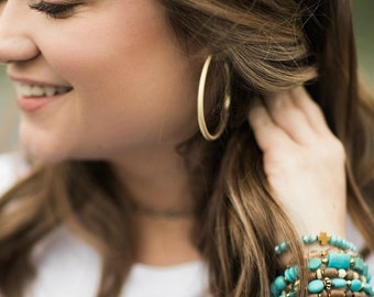 Small Gold Hollow Hoop Earrings