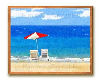 "INSTANT DOWNLOAD~BEACH Chairs & Umbrella, 8""x10"",Home Decor, Wall Art, Digital, Watercolor,Instant Printable,Ocean, Birds,Inspirational,"