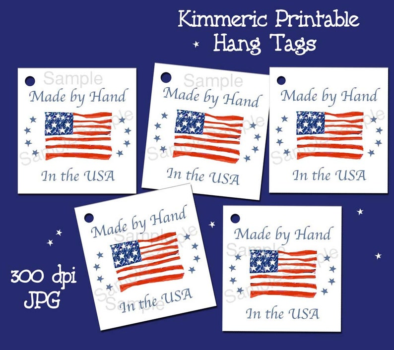 INSTANT DOWNLOAD  Made by Hand in The USA Hang Tags  American Flag Crafts Gift Tags Tie On Tags Patriotic Price Tags July 4th