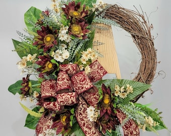 Fall Wreath For Front Door, Fall Grapevine Wreath with Burgandy Sunflowers for Front Door, Autumn Wreath, Harvest Greetings Wreath