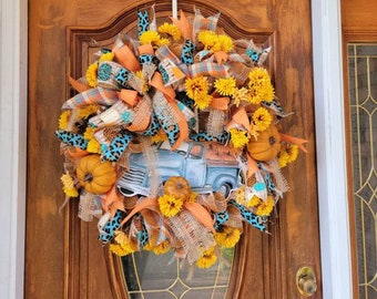 Fall Truck  Leopard Wreath, Blue Truck Wreath For Front Door, Autumn Wreath with Orange and Blue, Pumpkin Wreath For Fall