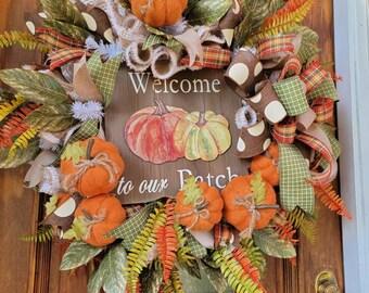 Fall Pumpkin Wreath For Front Door, Magnolia and Pumpkin Wreath For Fall, Autumn Pumpkin Decor, Thanksgiving Wreath
