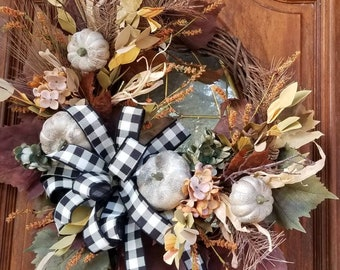 Fall Farmhouse Grapevine Wreath, Natural Pumpkins, Grape Leaf Fall Hydrangea Wreath, Buffalo Check Wreath for Front Door