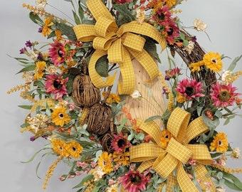 Fall Pumpkin Wreath For Front Door, Fall Grapevine Wreath with Sunflowers, Autumn Boho Wreath, Harvest Wreath, Zinna Wildflower Wreath