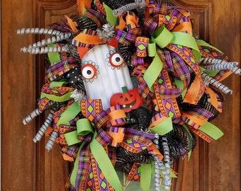 Halloween Ghost Wreath, Halloween Owl, Halloween Wreath For Front Door, Black and Silver Wreath, Spooky Halloween Decor