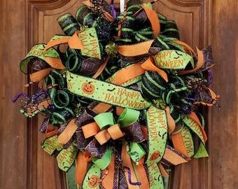 Happy Halloween Wreath, Halloween Pumpkin, Halloween Wreath For Front Door, Black and Green Wreath, Spooky Halloween Decor