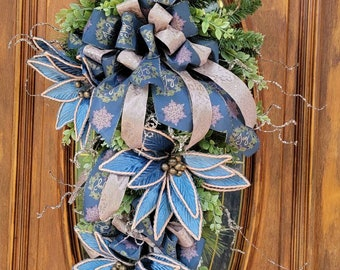 Blue Christmas Swag For Front Door, Blue Christmas Wreath, Farmhouse Christmas Swag, Poinsettia Swag, Blue Winter Swag