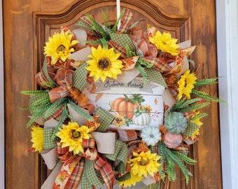 Fall Wreath for Front Door, Pumpkin Fall Wreath, Sunflower Fall Wreath, Autumn Wreath, Fall Leaves Wreath, Harvest Wreath