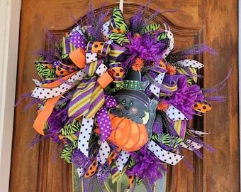 Black Cat Halloween Wreath For Door, Fall Wreath, Black Orange Purple Wreath, Pumpkin Wreath, Halloween Decor