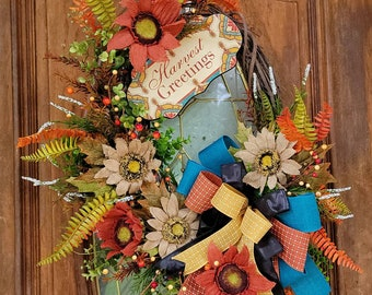 Fall Boho Wreath For Front Door, Fall Grapevine Wreath with Burlap Sunflowers for Front Door, Autumn Wreath, Harvest Greetings Wreath