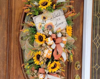 Summer Swag With Sunflowers, Fall Swag Wreath, Swag For Front Door, Fall Sunflower Decor