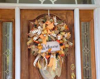 Fall Leopard and Pumpkin Wreath for Front Door, Fall Welcome Wreath, Country Fall Wreath, Autumn Wreath