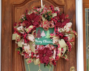 Merry Christmas Wreath For Front Door, Red Buffalo Plaid, Magnolia Wreath