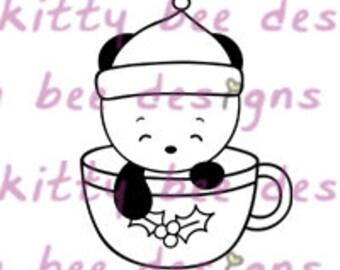 Coffee or Tea Cup Panda Digital Stamp
