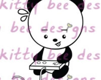 Gamer Panda Digital Stamp