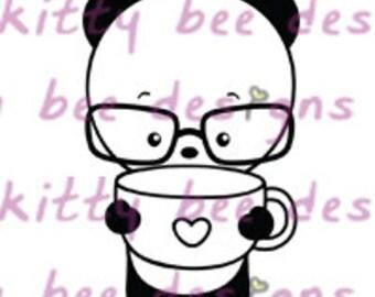 Coffee or Tea Please Panda Digital Stamp