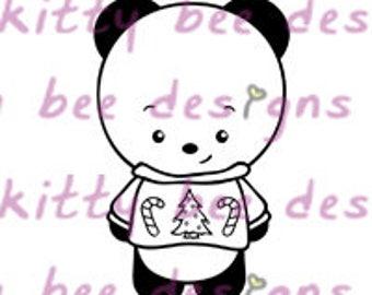 Ugly Sweater  Panda Digital Stamp
