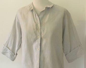 64a962ed Vintage Striped Blouse | Macshore Classics | White and Grey Striped Button  Front Blouse | 1950s Collar Blouse
