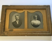 Antique Framed Double Portrait of Husband and Wife