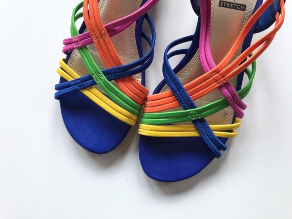 Vintage Colorful Strappy Wedge Sandals Size 6