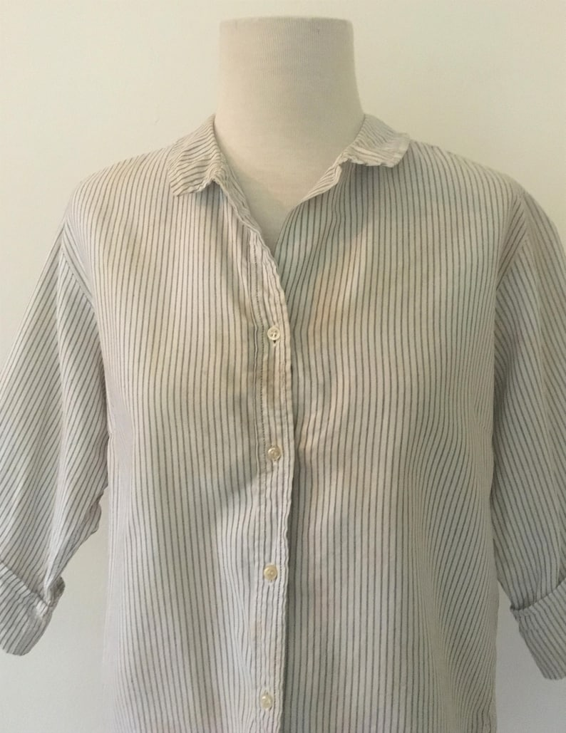d85211f6b09cbe Vintage Striped Blouse Macshore Classics White and Grey | Etsy